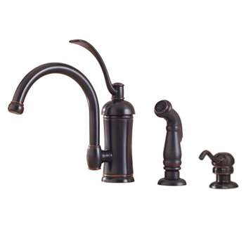 Price Pfister GT34-PHAY Amherst Single Handle Kitchen Faucet with Sidespray and Soap Dispenser Tuscan Bronze