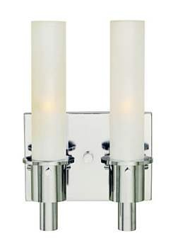 Belle Foret BF782208 Contemporary/ Modern Double Light Wall Sconce - Polished Chrome