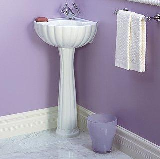 St. Thomas Creations 5036.012.01 Barcelona Corner Pedestal Sink Basin - White