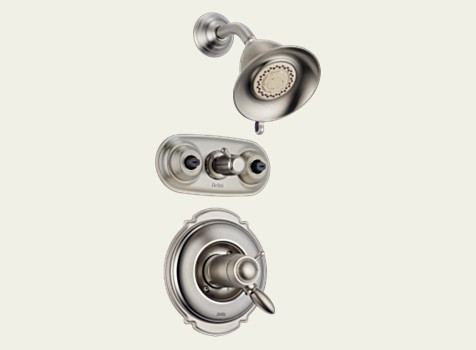 Delta T18T255-SS Victorian Collection Monitor 18 Series Jetted Shower System - Brilliance Stainless