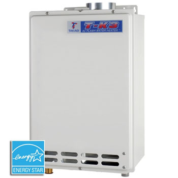 Takagi T-KJ4-IN is the middle sized gas water heaters in the Takagi tankless water heaterline. This small and powerful unit - with gas inputs up to 190,000 BTU per