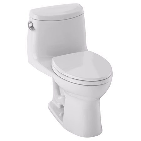 Toto MS604114CEFG#01 UltraMax II One-Piece Elongated 1.28 GPF Universal Height Toilet with CeFiONtect - Cotton White