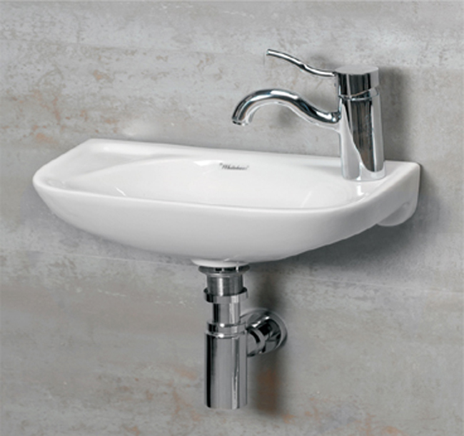 Whitehaus WH102LWH Jem Small Wall Mount Lavatory Sink With Faucet Drilling  On Left   White