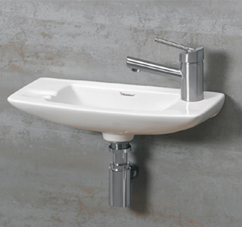 Whitehaus WH103LWH Jem Small Wall Mount Lavatory Sink With Faucet Drilling on Left - White