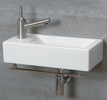 Whitehaus WH1114LWH Jem Wall Mount Lavatory Sink With Left Hand Faucet Drilling - White