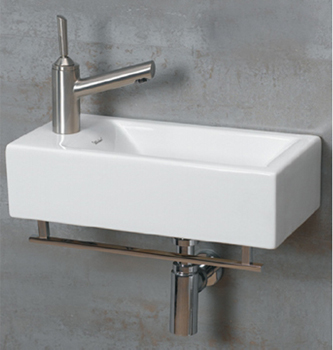 Whitehaus WH114RTBWH Jem Wall Mount Lavatory Sink with Chrome Towel Bar With Right Hand Faucet Drilling - White