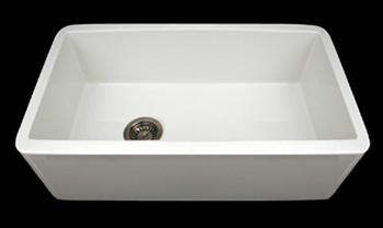 Whitehaus WH3018  Farmhaus 30 inch  Duet Reversible Undermount Fireclay Sink with Smooth Front Apron - White