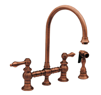 Whitehaus WHKBLV39101BN Vintage III Kitchen Faucet Two Lever Handle Swivel Spout Side Spray - Brushed Nickel (Pictured in Antique Copper)