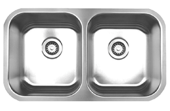 Whitehaus WHNEDB3118 Noah Double Bowl Undermount Sink - Brushed Stainless Steel