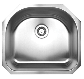 Whitehaus WHNU2119 Noah Single Bowl (D-Bowl) Undermount Sink - Brushed Stainless Steel