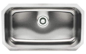 Whitehaus WHNU2918REC Noah Single Bowl Undermount Sink - Brushed Stainless Steel