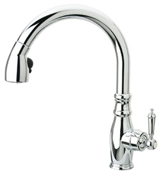 Whitehaus WHUS591L1PC Metrohaus Single Hole Faucet with Gooseneck Swivel Spout and Traditional Style Lever Handle - Polished Chrome