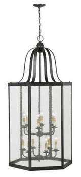 World Imports WI-1012-42 Essex 12 Light Foyer With Seedy Glass - Rust