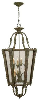 World Imports 1159-87 Genova 9 Light Pendant w/ Seedy Glass - Aged Copper