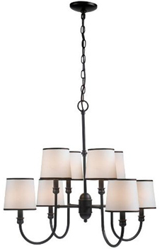 World Imports WI-1348-29 Brisbane 8 Light Chandelier With Shade - Euro Bronze