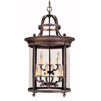 World Imports WI-1612-63 Luminous Lanterns 8 + 4 Light Hanging Lantern - French Bronze