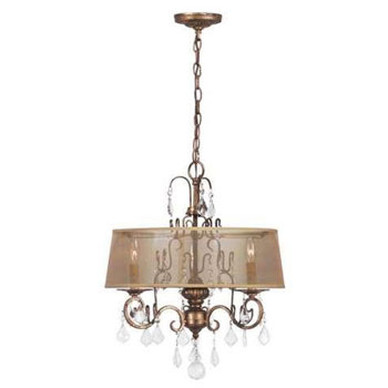 World Imports 1943-90 Belle Marie 3 Light Crystal Chandelier w/ Shade - Antique Gold