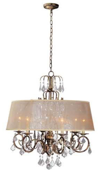 World Imports 1946-90 Belle Marie 6 Light Crystal Chandelier w/ Shade - Antique Gold
