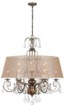 World Imports 1949-90 Belle Marie 12 Light Crystal Chandelier w/ Shade - Antique Gold