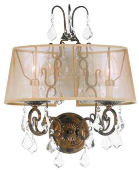 World Imports 1962-90 Belle Marie 2 Light Crystal Wall Light w/ Shade - Antique Gold