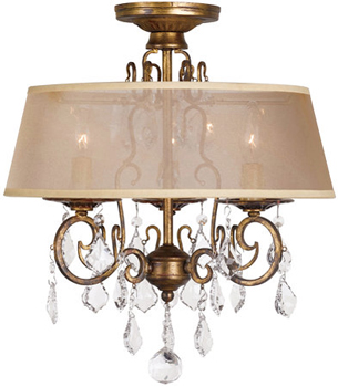 World Imports WI1973 3 Light Crystal Semi Flush - Antique Gold