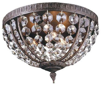 World Imports WI-2606-06 Timeless Elegance 3 Light Crystal Flush Mount Fixture - Flemish