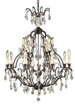 World Imports 2614-89 Timeless Elegance 8 + 4 Light Chandelier - Bronze