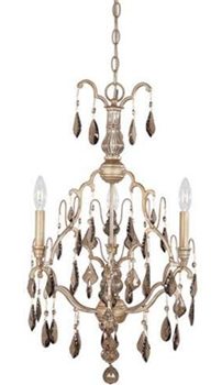 World Imports 2615-40  Timeless Elegance II 3 Light Chandelier w/ Smoked Crystal - Tuscan Wheat
