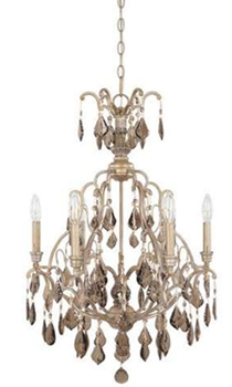 World Imports 2616-40 Timeless Elegance II 6 Light Chandelier w/ Smoked Crystal - Tuscan Wheat