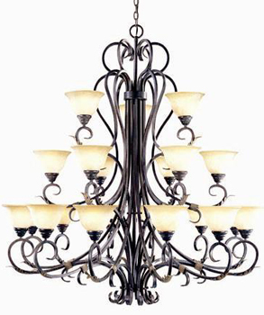 World Imports WI-2620-24 Olympus Tradition 21 Light 3 Tier Chandelier - Crackled Bronze With Silver