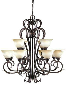 World Imports WI-2621-24 Olympus Tradition 12-Light Chandelier - Crackled Bronze With Silver