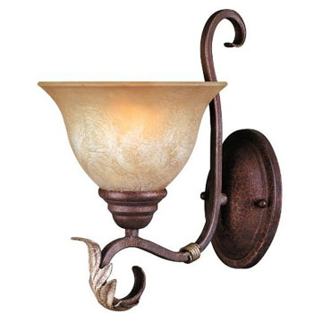 World Imports WI-2622-24N Olympus Tradition 1-Light Bath Wall Sconce - Crackled Bronze With Silver
