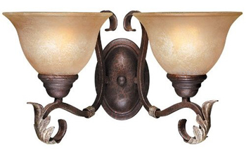 World Imports WI-2623-24N Olympus Tradition 2-Light Wall Sconce - Crackled Bronze With Silver