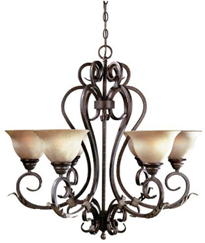 World Imports WI-2624-24 Olympus Tradition 6-Light Chandelier - Crackled Bronze With Silver