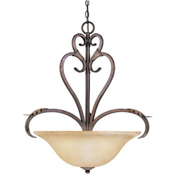 World Imports WI-2628-24N Olympus Tradition 4-Light Pendant - Crackled Bronze With Silver