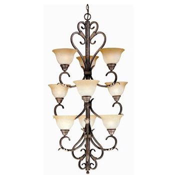 World Imports WI-2629-24N Olympus Tradition 9-Light Chandelier - Crackled Bronze With Silver