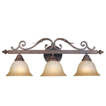 World Imports WI-2633-24N Olympus Tradition 3-Light Bath Light - Crackled Bronze With Silver