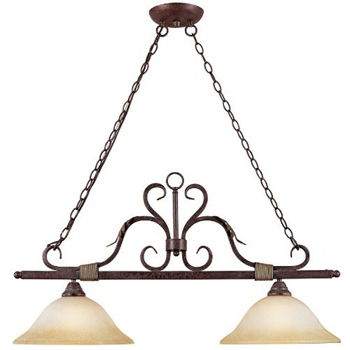 World Imports WI-2638-24N Olympus Tradition 2-Light Island Fixture - Crackled Bronze With Silver