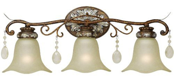 World Imports WI-4783-60 Catania 3-Light Bath Light - Oxide Bronze With Silver