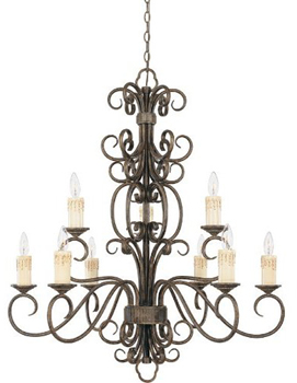 World Imports WI-5049-63 Sheffield 9-Light Chandelier - French Bronze