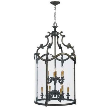 World Imports 5159-63  Venezia 9 Light Foyer w/ Clear Glass - French Bronze