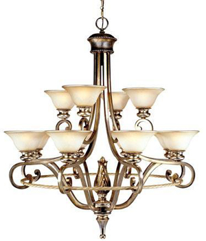 World Imports WI-5614-41 San Marino 12 Light Chandelier - Monterrey Beige with Silver