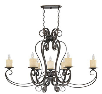 World Imports WI-5929-97 Stafford Spring 7 Light Island - Dark Antique Bronze