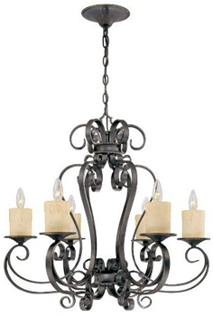World Imports WI-5946-97 Stafford Spring 6-Light Chandelier - Dark Antique Bronze