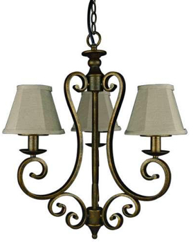 World Imports 61315-06 Dark Sky Revere 3-light Scroll Swag Chandelier w/ Weatherproof Fabric Shades - Flemish