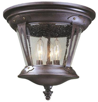 World Imports WI-74264-89 Old World Charm 3 Light Flush Mount Fixture - Bronze