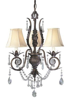 World Imports WI-750-62 Berkeley Square 3 Light Chandelier - Weathered Bronze