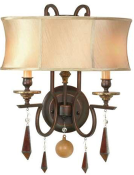 World Imports 7662-29  Turin 2 Light Wall Sconce w/ Shades And Pendalogues -  Euro Bronze