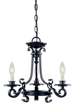 World Imports WI-80004-42 Iron Works 3 Light Chandelier - Rust