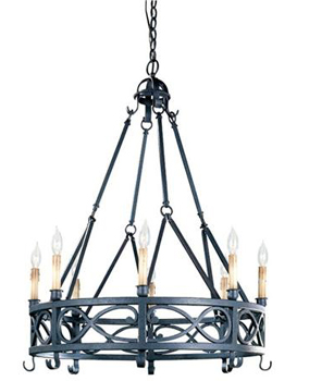 World Imports WI-80016-85 Iron Works 8 Light Chandelier - Textured Rust